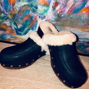 Ugg Black Leather Shearling Clogs